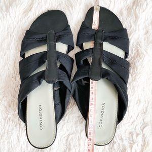 black stretchy strappg sandals